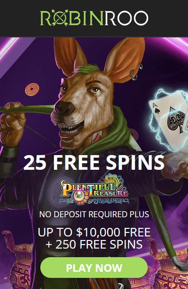 robin roo casino no deposit bonus 25 free spins on Plentiful Treasure slot